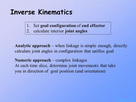 Inverse Kinematics Set goal configuration of end effector