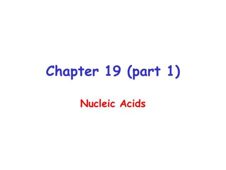 Chapter 19 (part 1) Nucleic Acids. Information encoded in a DNA molecule is transcribed via synthesis of an RNA molecule The sequence of the RNA molecule.