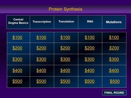 Protein Synthesis $100 $200 $300 $400 $500 $100$100$100 $200 $300 $400 $500 Central Dogma Basics Transcription RNA Mutations FINAL ROUND Translation.