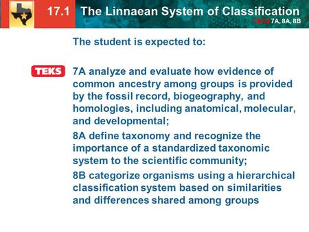 17.1 The Linnaean System of Classification TEKS 7A, 8A, 8B The student is expected to: 7A analyze and evaluate how evidence of common ancestry among groups.