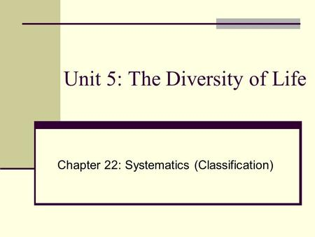 Unit 5: The Diversity of Life Chapter 22: Systematics (Classification)