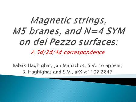 A 5d/2d/4d correspondence Babak Haghighat, Jan Manschot, S.V., to appear; B. Haghighat and S.V., arXiv:1107.2847.