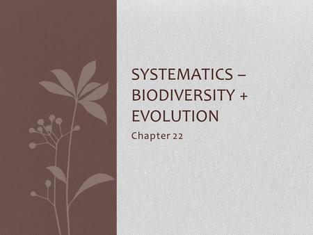 Chapter 22 SYSTEMATICS – BIODIVERSITY + EVOLUTION.