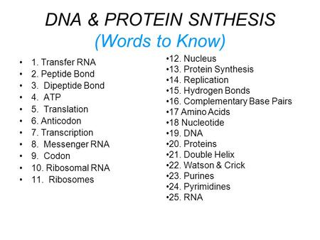 DNA & PROTEIN SNTHESIS (Words to Know)