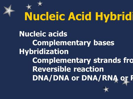 Nucleic Acid Hybridization Nucleic acids Complementary bases Hybridization Complementary strands from any sources Reversible reaction DNA/DNA or DNA/RNA.