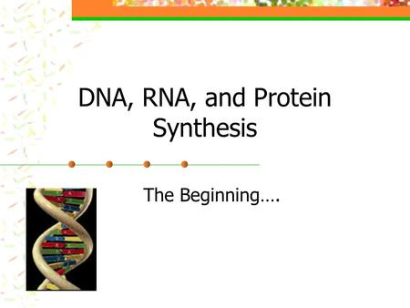 DNA, RNA, and Protein Synthesis The Beginning….. All living things are made of- Water (an inorganic compound) Other inorganic compounds (mostly salts)