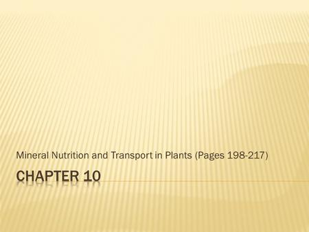 Mineral Nutrition and Transport in Plants (Pages 198-217)