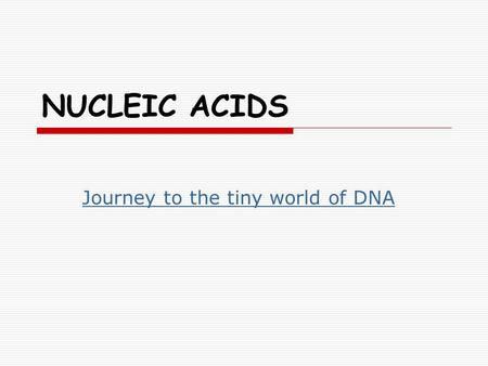 NUCLEIC ACIDS Journey to the tiny world of DNA. Nucleic Acids  Organic molecules, include C, H, O, N and P elements.  Have various roles in metabolic.