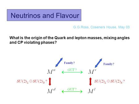 Neutrinos and Flavour G.G.Ross, Coseners House, May 03 What is the origin of the Quark and lepton masses, mixing angles and CP violating phases? Family?