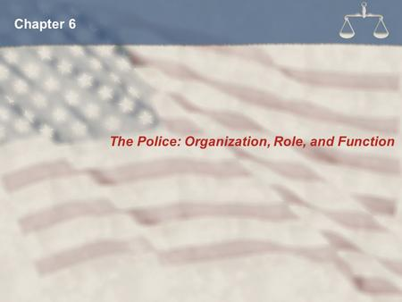 Chapter 6 The Police: Organization, Role, and Function.
