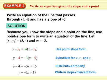 Write an equation given the slope and a point EXAMPLE 2 Write an equation of the line that passes through (5, 4) and has a slope of –3. Because you know.