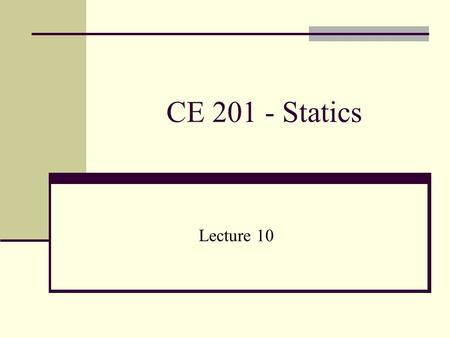 CE 201 - Statics Lecture 10. FORCE SYSTEM RESULTANTS So far, we know that for a particle to be in equilibrium, the resultant of the force system acting.