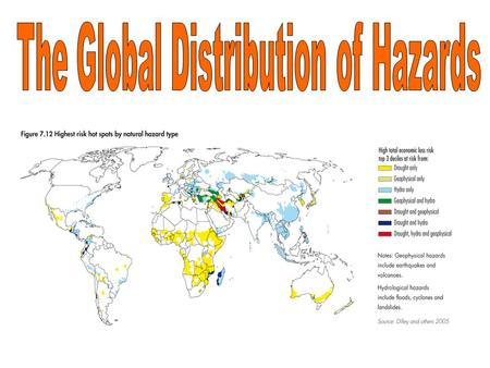 Typically, where in the world do natural hazards occur?