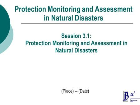 Protection Monitoring and Assessment in Natural Disasters (Place) – (Date) Session 3.1: Protection Monitoring and Assessment in Natural Disasters.