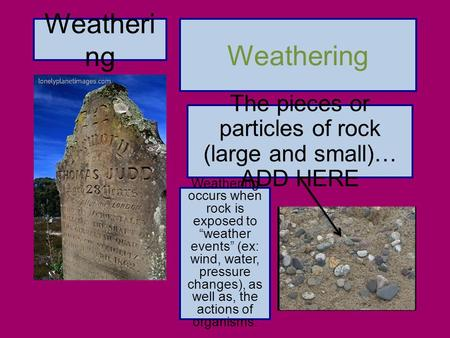 The pieces or particles of rock (large and small)… ADD HERE