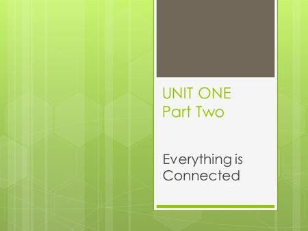 UNIT ONE Part Two Everything is Connected. Investigating Interactions  Geography is all about Interactions  Interactions are influences that people.