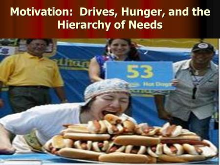 Motivation: Drives, Hunger, and the Hierarchy of Needs.