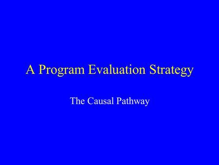 A Program Evaluation Strategy The Causal Pathway.