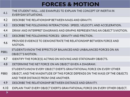 FORCES & MOTION 4.1 THE STUDENT WILL…USE EXAMPLES TO EXPLAIN THE CONCEPT <strong>OF</strong> INERTIA IN EVERYDAY SITUATIONS. 4.2 DESCRIBE THE RELATIONSHIP BETWEEN MASS.
