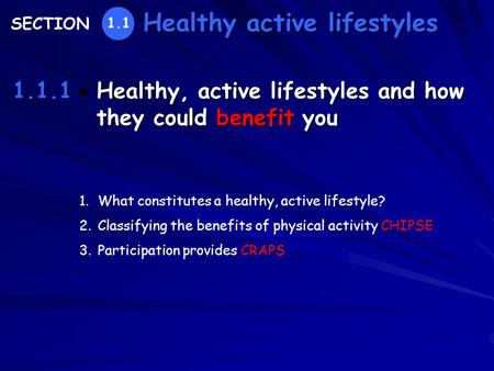 Healthy, active lifestyles and how they could benefit you Healthy active lifestyles 1.1.1 SECTION 1.1 1.What constitutes a healthy, active lifestyle? 2.Classifying.