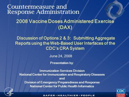 TM 1 2008 Vaccine Doses Administered Exercise (DAX) Discussion of Options 2 & 3: Submitting Aggregate Reports using the Web-Based User Interfaces of the.