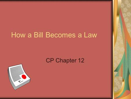 How a Bill Becomes a Law CP Chapter 12. The Rough Draft Starts in Congress (House or Senate) Researched Passes President signs it into a law.
