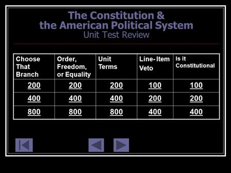 The Constitution & the American Political System Unit Test Review Choose That Branch Order, Freedom, or Equality Unit Terms Line- Item Veto Is it Constitutional.