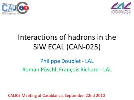 Interactions of hadrons in the SiW ECAL (CAN-025) Philippe Doublet - LAL Roman Pöschl, François Richard - LAL CALICE Meeting at Casablanca, September 22nd.