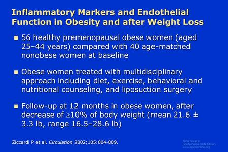 Slide Source: Lipids Online Slide Library www.lipidsonline.org 56 healthy premenopausal obese women (aged 25–44 years) compared with 40 age-matched nonobese.