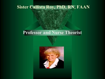 Sister Callista Roy, PhD, RN, FAAN Professor and Nurse Theorist.