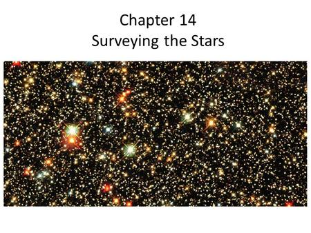 Chapter 14 Surveying the Stars. Luminosity and Apparent Brightness.
