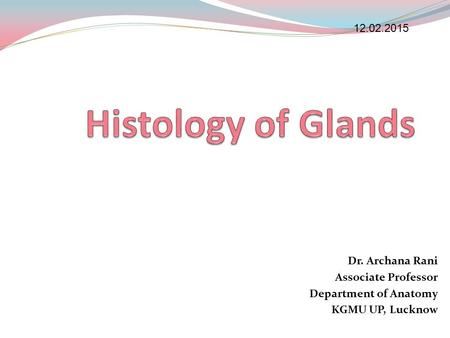 Histology of Glands Dr. Archana Rani Associate Professor