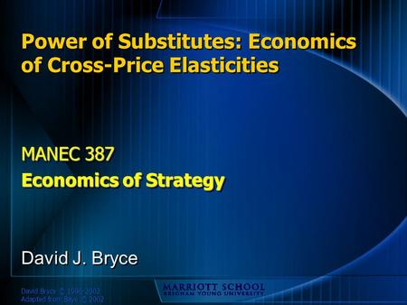 David Bryce © 1996-2002 Adapted from Baye © 2002 Power of Substitutes: Economics of Cross-Price Elasticities MANEC 387 Economics of Strategy MANEC 387.