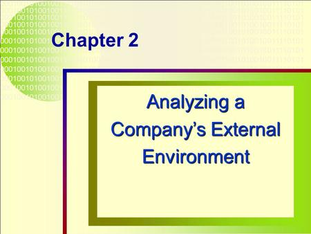 Analyzing a Company's External Environment