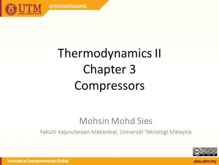 Thermodynamics II Chapter 3 Compressors