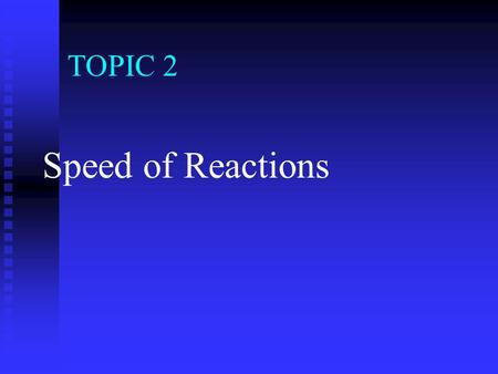 TOPIC 2 Speed of Reactions A chemical reaction can be represented by a Chemical Equation. A chemical reaction can be represented by a Chemical Equation.