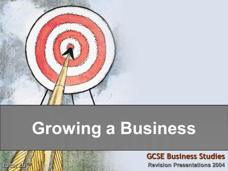 Tutor2u ™ GCSE Business Studies Revision Presentations 2004 Growing a Business.