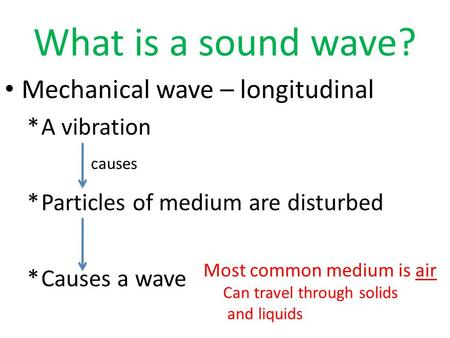 What is a sound wave? Mechanical wave – longitudinal *A vibration *Particles of medium are disturbed *Causes a wave causes Most common medium is air Can.