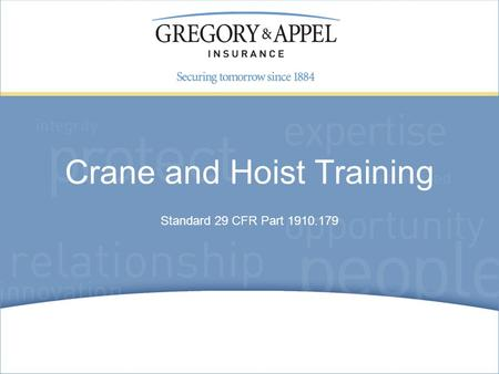 Crane and Hoist Training