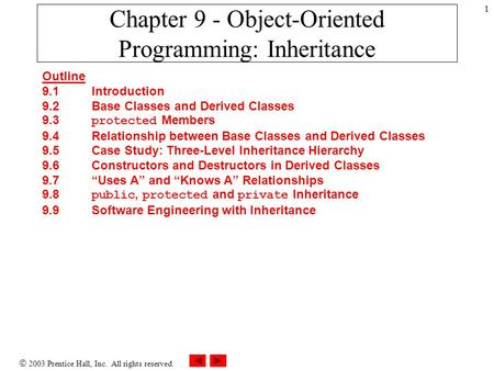  2003 Prentice Hall, Inc. All rights reserved. 1 Chapter 9 - Object-Oriented Programming: Inheritance Outline 9.1 Introduction 9.2 Base Classes and Derived.