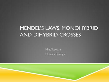 Mendel's Laws, Monohybrid and dihybrid crosses