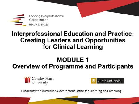 Interprofessional Education and Practice: Creating Leaders and Opportunities for Clinical Learning MODULE 1 Overview of Programme and Participants Overview.