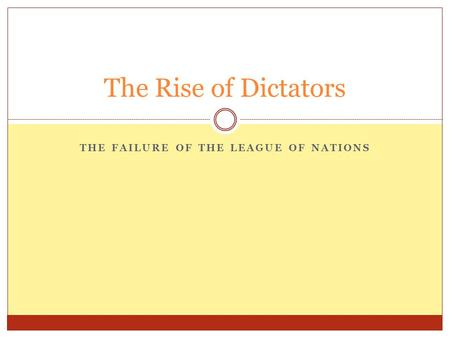 THE FAILURE OF THE LEAGUE OF NATIONS The Rise of Dictators.