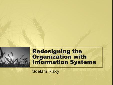 Redesigning the Organization with Information Systems Soetam Rizky.