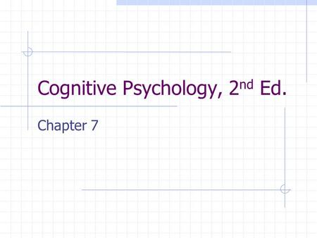 Cognitive Psychology, 2 nd Ed. Chapter 7. Reconstructive Retrieval Refers to schema-guided construction of episodic memories that alter and distort encoded.