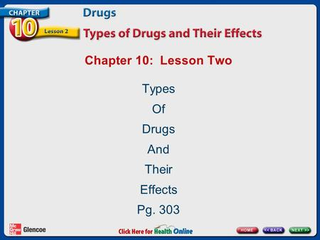 Chapter 10: Lesson Two Types Of Drugs And Their Effects Pg. 303.