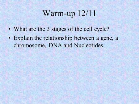 Warm-up 12/11 What are the 3 stages of the cell cycle? Explain the relationship between a gene, a chromosome, DNA and Nucleotides.
