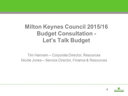Milton Keynes Council 2015/16 Budget Consultation - Let's Talk Budget