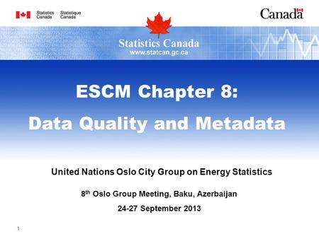 United Nations Oslo City Group on Energy Statistics 8 th Oslo Group Meeting, Baku, Azerbaijan 24-27 September 2013 ESCM Chapter 8: Data Quality and Metadata.