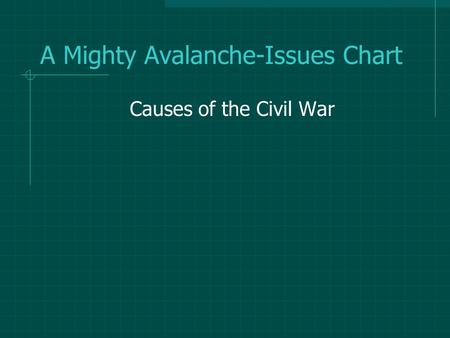 A Mighty Avalanche-Issues Chart Causes of the Civil War.